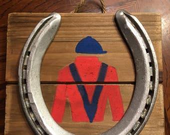 Handpainted Jockey Silks with Reclaimed Race Horseshoe on Wood Tile