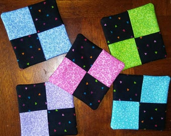 Set of 5 Blue, Pink, Purple, Turquoise, Green & Black Heart Fabric Wine Glass Coasters