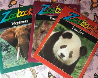 ZooBooks Lot of 3 Volumes- Wolves, Pandas, and Elephants