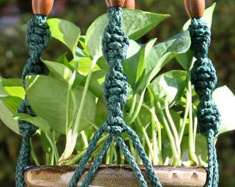 CIRQUE - Dark Teal Green Handmade Macrame Plant Hanger Plant Holder with Wood Beads - 6mm Braided Poly Cord in ANTIQUE JADE