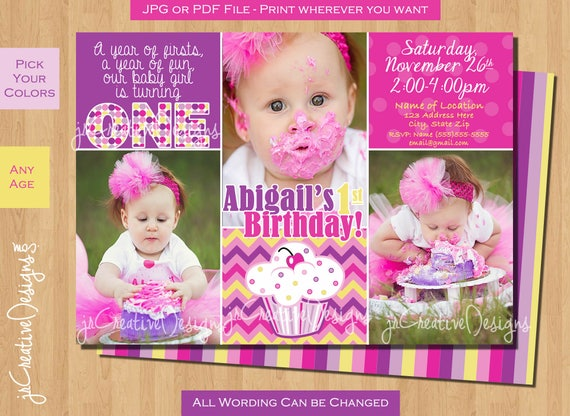 baby girl first birthday cupcake invitation lil cupcake birthday