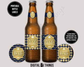 Printable Faux Gold Foil Fathers Day Beer Bottle Labels Wrap Gift Tags Toppers. Bottle Wrapper. Drink Label. Party Favor DT2004