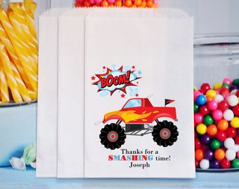 Monster Truck Party Bags, Monster Truck Party Favors, Truck Favors