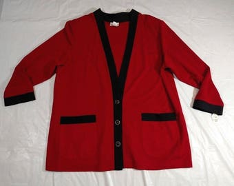 BROWNSTONE Stretch Knit Cardigan Sweater Women Plus Size 22W Red Black NEW Vintage