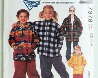 Boy Jacket, Toddler Coat, Pattern, Size 2 3 4, UNCUT, McCall's 7378, French Toast, Pull-On Pants, Toddler Pants, Little Boys Clothes, Fleece