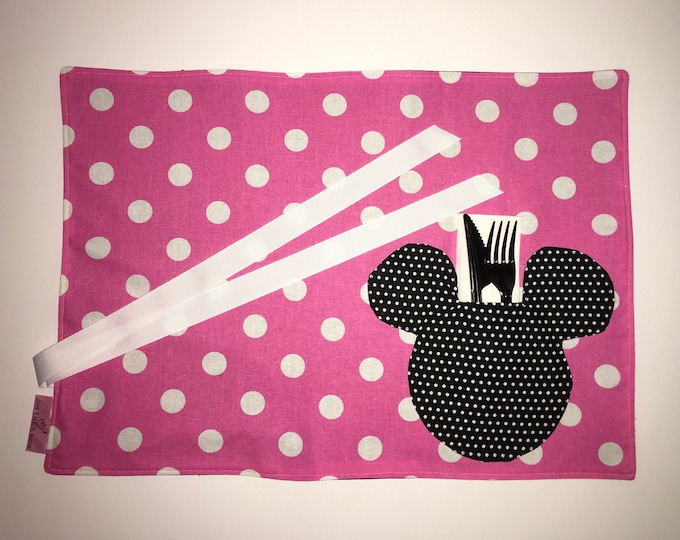 Minnie Mouse Mickey Mouse Inspired Pocket Placemat for Tailgating Lunchmat Travel placemat Pocket Placemat linens Toddler Placemat