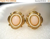 50% Off Sale Avon Victorian Spring Pink Cabochon Clip Style Earrings