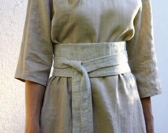 Pure Linen Obi Belt, Wrap Belt, Sash in natural linen color, Womens Wide Belt, Waist Tie Belt, Boho Belt, Bohemian Sash, Linen Accessories