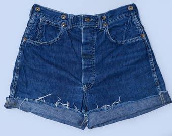 1930s Union Made Cut Off Shorts Indigo Cone Denim Work Wear Jean Shorts W 30