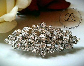 Brooklynn- Small bridal hair clip, flower girl clip, rhinestone hair clip, formal event hair clip, wedding hair clip, crystal hair clip