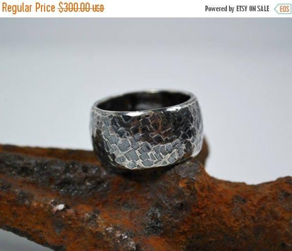 ON SALE Mens Wedding Band – Wide Silver Wedding Band - Sterling Silver Hammered Wedding Band - Mens Rings