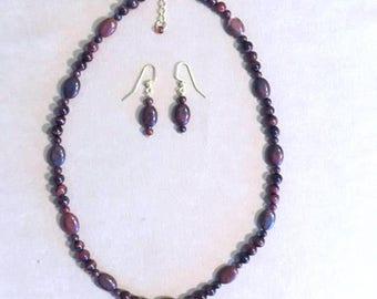 Semi Precious Stone Jewelry Set, Red Tiger's Eye Beaded Necklace Set, Natural Stone Red Jewelry Set, Handmade Beaded Jewelry Pendant Set