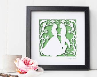 Square Beauty and the Beast Papercut Print • Fairytale Wall Art • Paper Cut Print