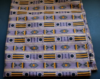 "Vintage Côte d'Ivoire, West Africa, 68"" long x 45"" wide  striped pattern bandana fabric unique retro fabric"