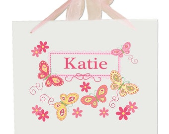 Personalized Girls Nursery Wall Sign with Yellow Butterflies Design-walha-pin-300d