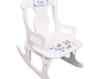 Personalized White Puzzle Rocking Chair with Lavender Butterflies Design-puzz-whi-300b