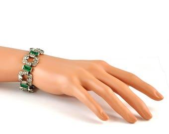 1930's Art Deco Chrome Plated Faux Diamond and Emerald Bracelet - Statement Bracelet