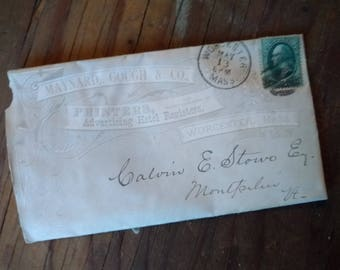 Vintage 1800's Letterhead,Correspondence, Maynard,Gough & Co. Advertising Hotel Registers. with Envelope and Stamp 1880