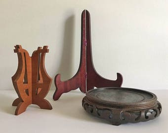 Wooden Display Stand Lot / 3 Vintage Wooden Stands