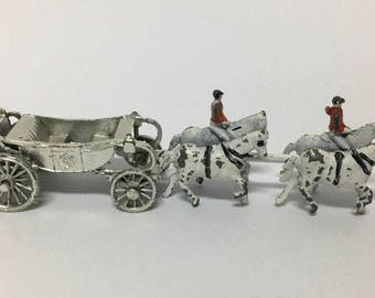 Minitaure Horses and Carriage marked England / Queen's Carriage / Miniature Toy Carriage