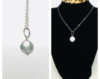Roun/Coin pearl Pendant & Necklace, Silver/Plated, Clearance SALE, Item No. S264