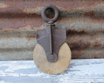 Antique Barn Pulley Hay Loft or Ships Rope Pulley Wood and Metal Vintage Home Decor Nautical Farm Industrial Decor Rustic Pendant Light Lamp