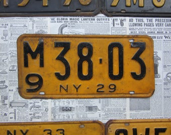 Vintage New York License Plate NY 1929 Black Yellow 1920s Antique License Plate Number Tag Metal Tag Car Truck Auto Distressed Metal Sign