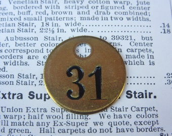Lucky number 31 etsy number 31 tag charm brass id tag 1 inch shiny 31 tag vintage tag industrial sciox Choice Image