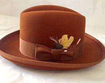 Vintage 1960s 70s Designer Collection Russet Brown Godfather/Homburg Style Hat