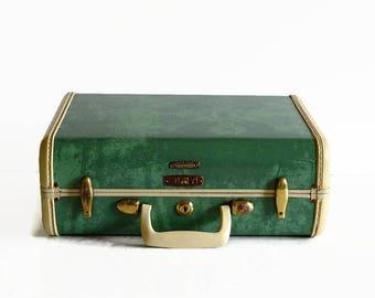 vintage small Samsonite suitcase bermuda green 1950s luggage
