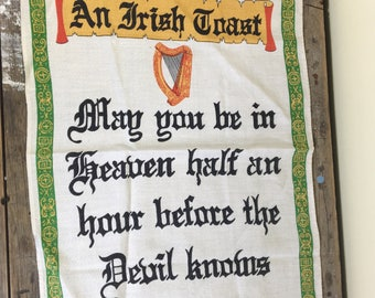 Tea towel, An Irish Toast, soft