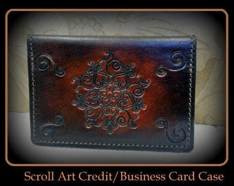 Brown Men's Leather Credit Business card holder case, slim wallet, thin wallet, Father's day, third anniversary, Groom gifts, Cards and cash