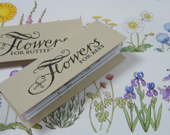 Artists' Books: 'Flowers for Bees', ' Flowers for Butterflies', Concertina (Accordion) Book