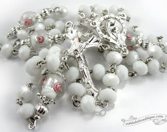 White Jade Rosary confirmation gift catholic rosary ladies rosaries white rosary communion rosaries baptism rosary girls rosaries boy rosary