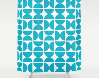 36 colours, Large OR Small Circles Pattern Shower Curtain, Scandinavian style, Scuba Blue geometric decor, Nordic style bathroom decor