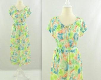 SALE Watercolor Garden Dress - Vintage 1970s Pastel Floral  A line Day Dress - Large by Valentine
