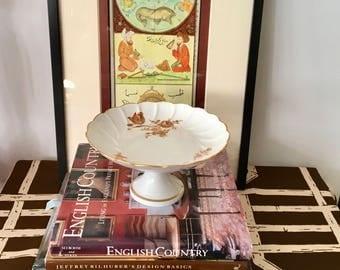 Vintage White Limoges Pedestal Plate, Rose Gold Details