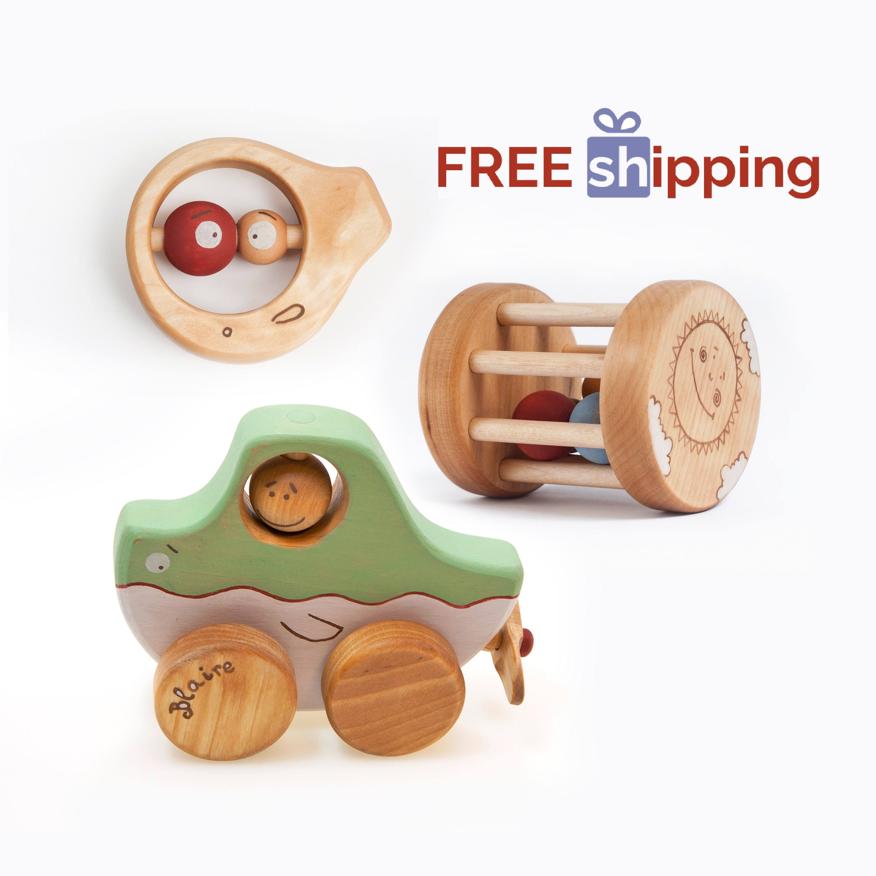 Free Shipping Toys Safe Baby Toys Wooden Baby Rattle Toys