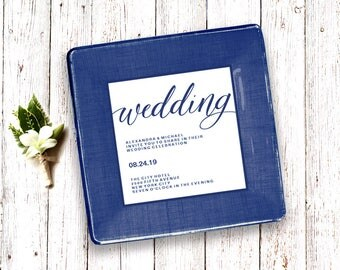 wedding gift using invitation - keepsake for couple -personalized - custom decoupage plate - match colors first anniversary gift