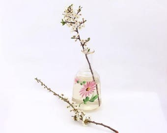 SALE 20% off Vintage glass vase, Handpainted Pink Flower, Home decor vase, Antique vase, Glass Vase Handpainted