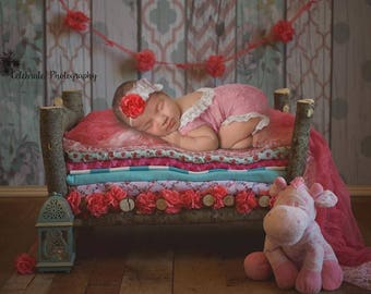 Pink Backless Newborn Romper, Lace Romper, Homemade, Photo Prop, Coming Home Outfit
