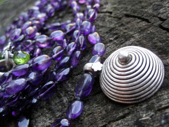 PANYA  Handknotted Multistrand Amethyst Necklace with Sterling Silver Indian Pendant