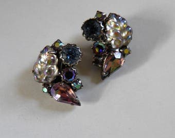 Signed WEISS Clip Earrings, VintageGlamour.