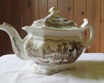 Staffordshire ABBEY RUINS Brown Transferware Teapot
