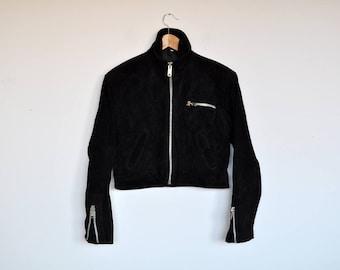 Vintage Black Suede Bomber Blazer Leather Cropped Zippered Biker Jacket