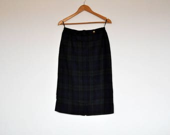 Vintage Navy and Green Plaid Wool High Waist Midi Pencil Skirt