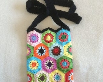 ON SALE - 10% OFF Crochet Granny Square pouch bag