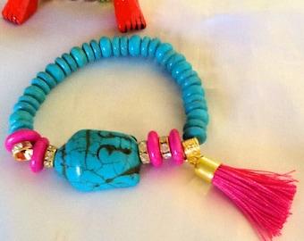 Turquoise Buddha tassel bracelet , yoga bracelet with tassel , meditation bracelet with tassel , turquoise Buddha chakra bracelet