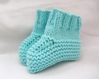 Handmade Baby Booties. Aqua Baby Booties. Knitted Baby Booties.