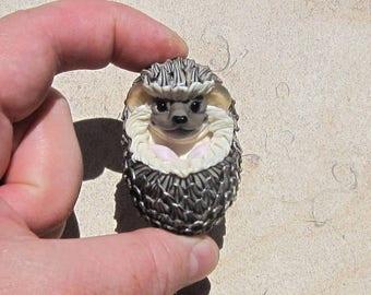 XL. Happy Hedgie Hedgehog - Handmade Flameworked Glass Sculpture Bead - SRA